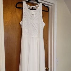 White Slip On Handkerchief Dress